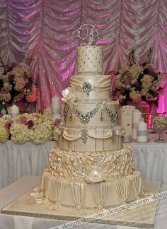 Wedding cake with crystals. So fancy!