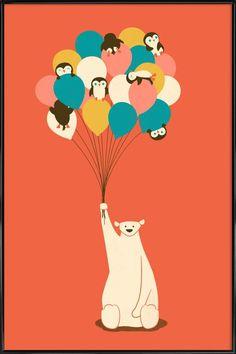Penguin Bouqet en Affiche sous cadre standard par Jay Fleck   JUNIQE