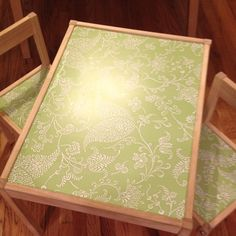 Pinterest Project #5 - Contact paper on Ky's old Ikea table to give it a new look.