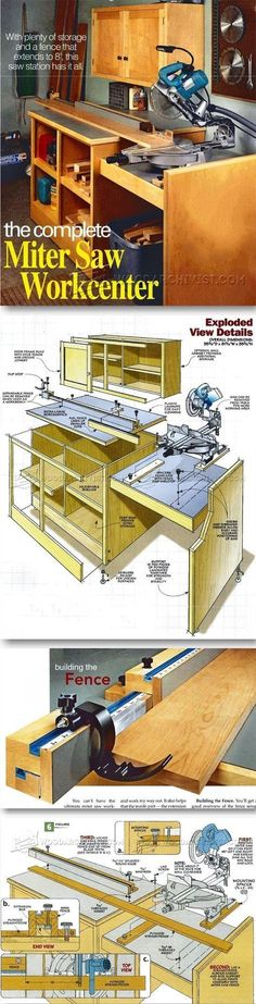 Miter Saw Workstation Plans - Miter Saw Tips, Jigs and Fixtures   WoodArchivist.com