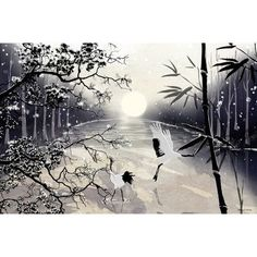 "Maxwell Dickson 'Two Cranes' Bird Graphic Art on Wrapped Canvas Size: 16"" H x 20"" W x 1.5"" D"