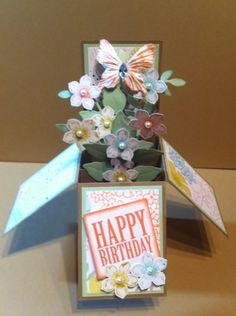 Easy birthday card - can use chipboard sticker butterflies if you don't have the punch.