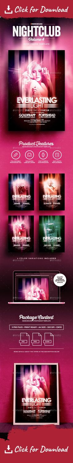 """abstract, advertise, club, dance, dj, electro, flyer, futuristic, indie, indieground, light, music, night, orange, poster, print, retro, singer, woman Nightclub Flyer/Poster Template Vol.4 """"Everlasting Light"""" – This flyer was designed to promote an Electro / Pop / Alternative music event, such as a gig, concert, festival, dj set, party or weekly event in a music club and other kind of special evenings. This poster can also be used for a new album promotion, futuristic event or other a..."""