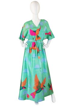 1970s Beautiful & Bright Hanae Mori Bird Caftan Dress