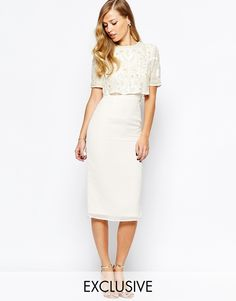 Image 1 ofFrock and Frill Embellished Overlay Pencil Dress With Open Back And Split