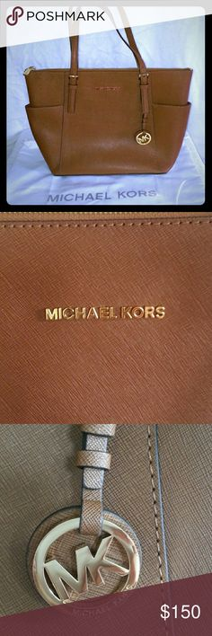 Michael kors jet set Michael kors medium jet set top zip in color luggage with gold accents. In perfect condition, just the normal scratches on the metal soles which is not noticable. Dimension 11in x 9.5 x 4in. Nice size. Comes with a dust bag. Michael Kors Bags Shoulder Bags