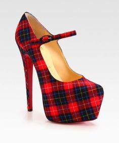 c31c9b8c826 Mad About Plaid Christian Louboutin Canvas Tartan Mary Jane Platform Pumps  High Heels Outfit