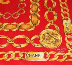 Silk Scarf _ Chanel _ gold chains