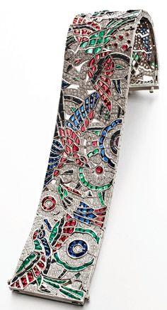 Best Diamond Bracelets  : Art Deco ruby sapphire emerald and diamond platinum bracelace by Oscar Heyman