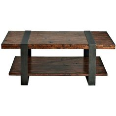 Klaussner Timber Forge Reclaimed Industrial Cocktail Table ($353) ❤ liked on Polyvore featuring home, furniture, tables, accent tables, brown, wooden shelving, wood table, wood shelving, industrial table and wood shelf