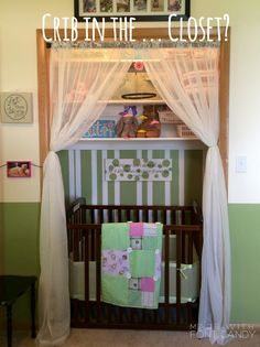 New baby cribs diy small spaces Ideas - Modern Crib In Closet, Baby Room Closet, Baby Crib Diy, Baby Cribs, Baby Nook, Small Space Nursery, Creative Kids Rooms, Baby Storage, Small Nurseries