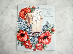 Vintage 1940s Unused Greeting Card Cut Out Letter Box Poppies Lilac Get Well
