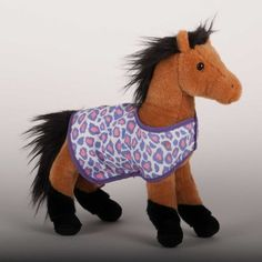 """""""Leopold"""" Buckskin Plush Horse with Pink and Purple blanket. Douglas toys are awesome"""