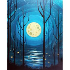 Space Painting, Moon Painting, Diy Painting, Painting Steps, Easy Painting Projects, Step By Step Painting, Art Projects, Summer Painting, Autumn Painting