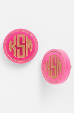 'Chelsea' Medium Personalized Monogram Stud Earrings (Nordstrom