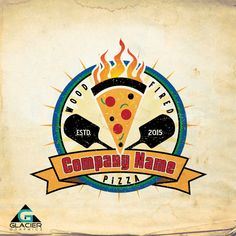 Color Modern Vintage Wood Fired Pizza Logo by WAGlacierGraphics