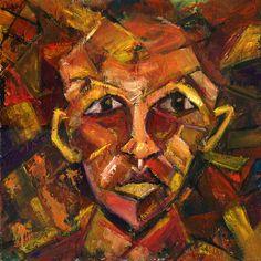 "Cubist Face- Original piece by Matthew Kupke- 24"" x 24""- Oil on Wood"
