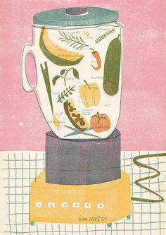 Barbara Dziadosz Illustration - Gazpacho recipe I did for nham nham soon available. Art And Illustration, Editorial Illustration, Illustration Inspiration, Food Illustrations, Alphonse Mucha, Oeuvre D'art, Food Art, Adobe Illustrator, Creations