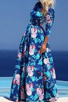 Jewel Neck Floral Print 3/4 Sleeve Maxi Dress