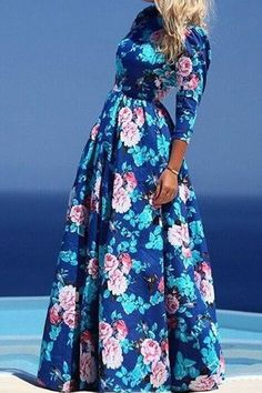 Jewel Neck Floral Print 3/4 Sleeve Maxi Dress BLUE: Print Dresses | ZAFUL
