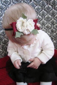 Roses & Holly Christmas Baby Headband. $8.99, via Etsy.