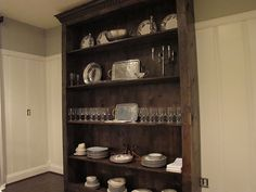 Jenny Steffens Hobick: Home DIY wooden hutch Dining Room Hutch, Dining Area, Kitchen Breakfast Nooks, Wooden Diy, My Living Room, Home Projects, Home Improvement, Sweet Home, Home Decor