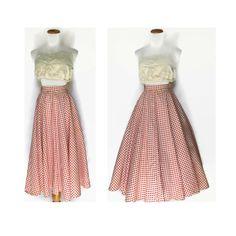 Red Polka Dot Skirt / 50s Skirt / Full Skirt / 1950s Skirt / Polka Dot Skirt / High Waisted Skirt / Circle Skirt / Rockabilly Skirt / Medium by GoodLuxeVintage on Etsy