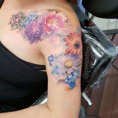 PETE ZEBLEY   Tattoos Feminine Shoulder Tattoos, Shoulder Sleeve Tattoos, Shoulder Tattoos For Women, Flower Tattoo Shoulder, Sleeve Tattoos For Women, Family Sleeve Tattoo, Purple Flower Tattoos, Vintage Flower Tattoo, Beautiful Flower Tattoos