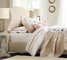 Pottery Barn are experts when it comes to bed styling. Here's what I learnt from Pottery Barn about styling a bed and you can too. Decor, Furniture, Headboards For Beds, Home Furniture, Pottery Barn, Home Decor, Bed, Bed Styling, Wingback Headboard