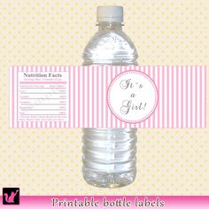 INSTANT DOWNLOAD Baby Shower Water Bottle Labels Wrappers - Its a Girl Printable Pink Stripes Lines Wraps