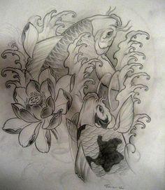 Koi tattoo sketch by ~TeroKiiskinen on deviantART
