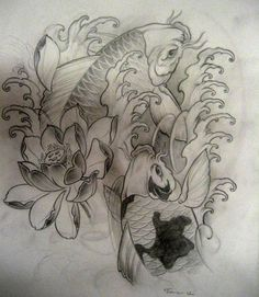Koi tattoo sketch by ~TeroKiiskinen on deviantART