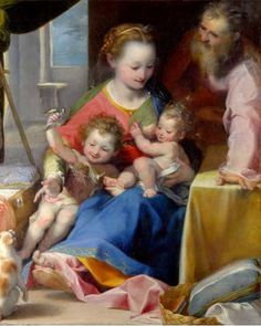 Federico Barocci.The Madonna and Child with Saint Joseph and the Infant Baptist (La Madonna del Gatto), ca.1575.National Gallery.London.