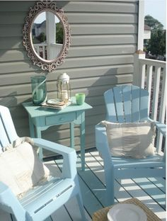Gray and turquoise porch