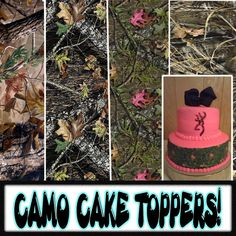 Camouflage Cake toppers or strips for sides, edible sugar sheets. Camo real tree mossy oak max 4 pattern print decal sticker