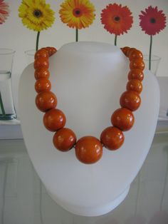 Orange Wooden  Bead Necklace by HaileJewelryandLoans on Etsy