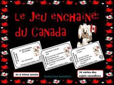 """Ce JEU ENCHAÎNÉ DU CANADA des sujets divers canadiens - http://www.teacherspayteachers.com/Store/The-Artsy-French-Teacher  """"J'ai...Qui as...?"""", vise aux élèves de 4-6ème année.  36+ cartes incluses!"""