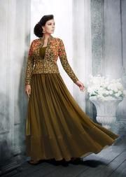 Orange Fusion Straight Dress come Fall in love of this dress in first vision beautiful design and sharp embroidery made this dress a perfect party wear. Indian Designer Outfits, Indian Outfits, Designer Dresses, Designer Wear, Long Dress Design, Ladies Dress Design, Anarkali Dress, Lehenga, Stylish Dresses