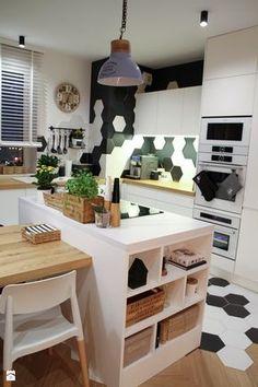 Moje Pierwsze M - 53.5 m2 - Sląsk - Średnia otwarta kuchnia w kształcie litery l z wyspą, styl skandynawski - zdjęcie od Grzegorz - Mały Inwestor