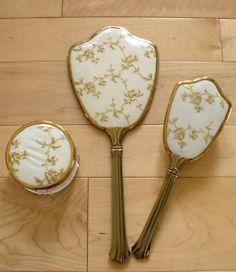 vintage hand mirrors | Antique Vintage Hand Mirror Brush Jar Set Gold Imbroidered Vanity Set ...