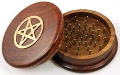 Herb Grinder Pentacle Herbalist Wicca Pagan Pentagram Green Mortar & Pestles NEW