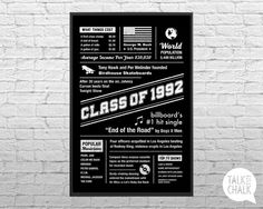 This CLASS OF 1992 digital poster is filled with highlights of what happened 25 years ago, in the year 1992. This poster sends classmates down memory lane with popular events that occurred the year they graduated! This poster makes a great conversation piece at reunions. Please CAREFULLY read the points below before purchasing! ♦ All items in my shop are DIGITAL FILES ONLY ♦ DIY printing ♦ NO physical poster/sign is shipped in the mail ♦ This item is an INSTANT DOWNLOAD  ►► INCLUDES FIVE...