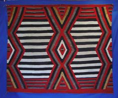 "Navajo Indian Third Phase Chief Blanket. The Third Phase pattern of full, half and quarter diamonds (and sometimes referred to as a ""9-spot), was very popular with the Traders, who continued to encourage weavers to use the pattern well into the rug period.  AAIA, Inc. deals in antique & contemporary Native American Indian art and artifacts. We Buy, Sell, Consign, Appraise, Restore & Research. #Antique #American #Indian #Art (949) 813-7202 mwindianart@gmail.com"