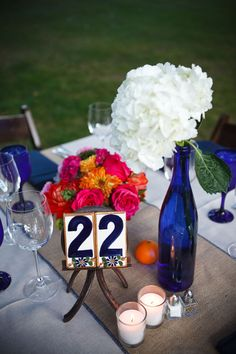 Talavera Table Numbers and cobalt mexican sutyle
