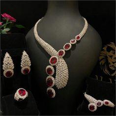Aland Jewelers Ruby and Diamond Parure Ruby Jewelry, Pandora Jewelry, Wedding Jewelry, Jewelry Necklaces, Fine Jewelry, Bracelets, Snake Jewelry, Ruby Necklace, Diamond Necklaces