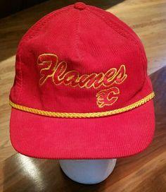 43ccf217 Calgary Flames Corduroy Rope Snapback NHL Hockey Cap red trucker Hat  vintage #CollegeClassics #CalgaryFlames
