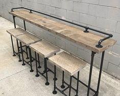 Items similar to Rustic Gray Reclaimed Barn Wood Sofa Bar Table - 6 Foot on Etsy Wood Bar Table, Pipe Table, Wood Bar Stools, Counter Stools, Sofa Bar, Bar Table Behind Couch, Sofa Tables, Xl Sofa, Home Decor Ideas