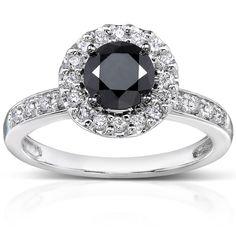 Annello 14k White Gold 1ct TDW Black and White Diamond Halo Ring black and white diamond rings for women