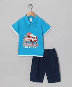 Turquoise Fire Truck Polo & Jean Shorts -on #zulily today!  Size 12m-7/8 (Certain sizes were out of stock when this was pinned.)  Price: $12.91