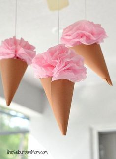 Off With A Summer Ice Cream Party + Free Printables DIY paper ice cream cone party decorations are a simple way to dress .DIY paper ice cream cone party decorations are a simple way to dress . Diy Ice Cream, Summer Ice Cream, Ice Cream Theme, Ice Cream Party Decor, Ice Cream Crafts, Ice Cream Decorations, Diy Party Decorations, Carnival Decorations, Hanging Decorations